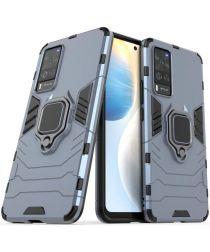 Motorola Moto E6i Hoesje met Metalen Magnetische Ring Kickstand Blauw