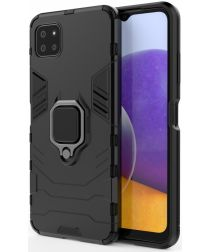 Samsung Galaxy A22 5G Shockproof Hybride Backcover Met Kickstand Zwart