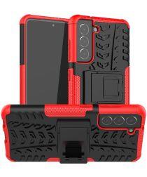 Samsung Galaxy S21 FE Hoesje Hybride Back Cover Kickstand Rood