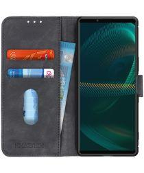 KHAZNEH Sony Xperia 5 III Hoesje Retro Wallet Book Case Zwart