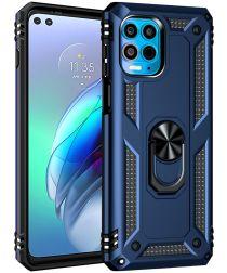 Motorola Edge Moto G100 Hybride Hoesje met Kickstand Blauw
