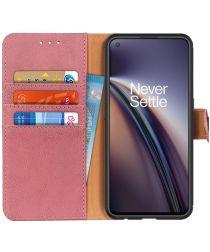 KHAZNEH OnePlus Nord CE 5G Hoesje Portemonnee Bookcase Kunstleer Roze