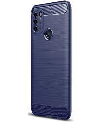 Motorola Moto G50 Hoesje Geborsteld TPU Flexibele Back Cover Blauw