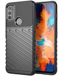 Motorola Moto G50 Hoesje Twill Thunder Textuur Back Cover Zwart