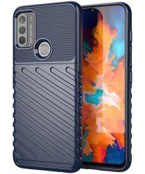 Motorola Moto G50 Hoesje Twill Thunder Textuur Back Cover Blauw