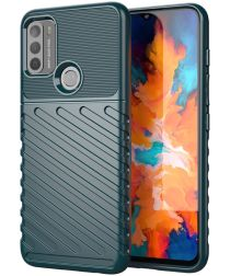Motorola Moto G50 Hoesje Twill Thunder Textuur Back Cover Groen