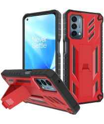 Oppo A54 5G / A74 5G Hoesje Hybride Back Cover met Kickstand Rood