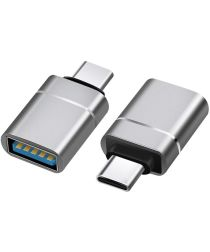 Universele USB-C naar USB-A Adapter On The Go Converter Grijs