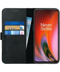 Rosso Deluxe OnePlus Nord 2 5G Hoesje Echt Leer Book Case Zwart