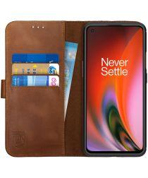 Rosso Deluxe OnePlus Nord 2 5G Hoesje Echt Leer Book Case Bruin