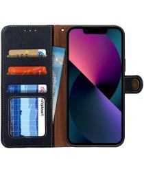 Apple iPhone 13 Mini Hoesje RFID Portemonnee Book Case Echt Leer Zwart