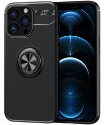 Apple iPhone 13 Pro Max Hoesje met Magnetische Ring Kickstand Zwart