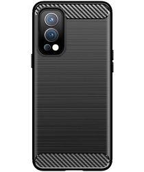 OnePlus Nord 2 5G Hoesje Geborsteld TPU Flexibele Back Cover Zwart