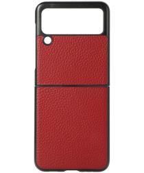 Samsung Galaxy Z Flip Hoesje Litchi Textuur Back Cover Echt Leer Rood