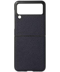 Samsung Galaxy Z Flip Hoesje Litchi Textuur Back Cover Echt Leer Blauw