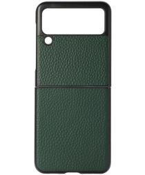 Samsung Galaxy Z Flip Hoesje Litchi Textuur Back Cover Echt Leer Groen