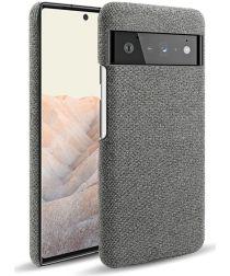 Google Pixel 6 Pro Hoesje Hard Plastic met Stoffen Afwerking Grijs