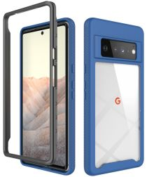 Google Pixel 6 Pro Hoesje Volledig Schokbestendig Hybride Cover Blauw