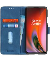 KHAZNEH OnePlus Nord 2 5G Hoesje Retro Wallet Book Case Blauw