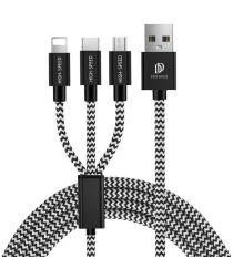 Dux Ducis 3-in-1 2.4A USB naar Lightning/USB-C/MicroUSB Kabel 1.2M
