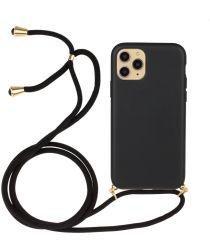 Apple iPhone 13 Pro Hoesje Back Cover Flexibel TPU met Koord Zwart