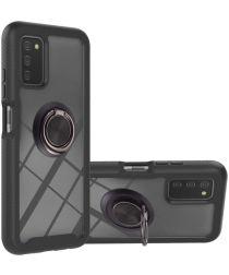 Samsung Galaxy A03s Hoesje Hybride Kickstand Back Cover Zwart