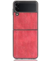 Samsung Galaxy Z Flip 3 Hoesje Kunstleer Back Cover Rood