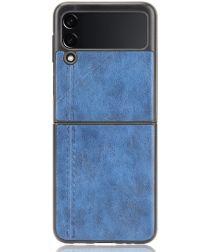 Samsung Galaxy Z Flip 3 Hoesje Kunstleer Back Cover Blauw