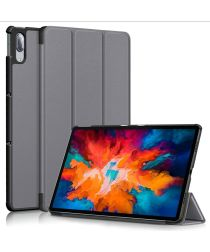 Lenovo Tab P11 Pro Hoes Tri-Fold Book Case Kunstleer Grijs