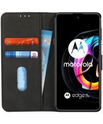 KHAZNEH Motorola Edge 20 Lite Hoesje Portemonnee Book Case Zwart