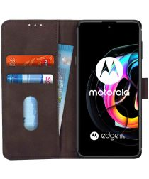 KHAZNEH Motorola Edge 20 Lite Hoesje Portemonnee Book Case Bruin