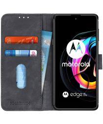 KHAZNEH Motorola Edge 20 Lite Hoesje Retro Wallet Book Case Zwart