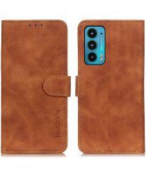 KHAZNEH Motorola Edge 20 Hoesje Retro Wallet Book Case Bruin