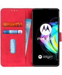 KHAZNEH Motorola Edge 20 Hoesje Retro Wallet Book Case Rood