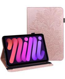 Apple iPad Mini 6 Hoes Portemonnee Book Case met Vlinder Print Roze