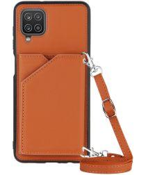 Samsung Galaxy A12 Hoesje Portemonnee Back Cover met Koord Bruin