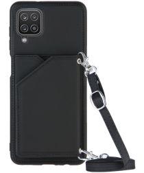 Samsung Galaxy A12 Hoesje Portemonnee Back Cover met Koord Zwart