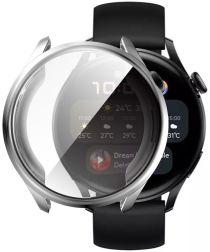Huawei Watch 3 Hoesje Hard Plastic Bumper met Tempered Glass Zilver