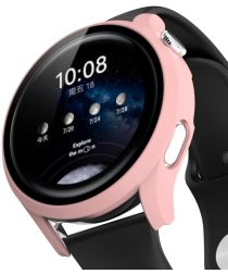 Huawei Watch 3 Case Hard Plastic Bumper met Tempered Glass Roze