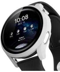 Huawei Watch 3 Pro Case Hard Plastic Bumper met Tempered Glass Wit
