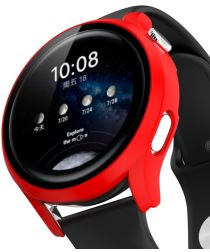 Huawei Watch 3 Pro Case Hard Plastic Bumper met Tempered Glass Rood