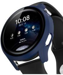 Huawei Watch 3 Pro Case Hard Plastic Bumper met Tempered Glass Blauw