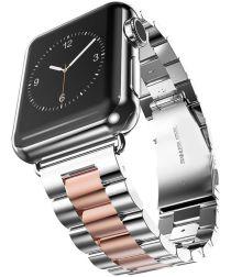 Apple Watch 44MM / 42MM Bandje Schakelband Roestvrij Staal Zilver/Roze