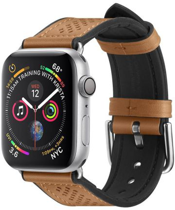 Spigen Retro Fit Apple Watch 44MM / 42MM Bandje Kunst Leer Bruin Bandjes