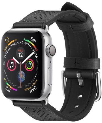 Spigen Retro Fit Apple Watch 44MM / 42MM Bandje Kunst Leer Zwart Bandjes