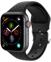 Apple Watch 44MM / 42MM Bandje Siliconen met 3D Diamant Textuur Zwart