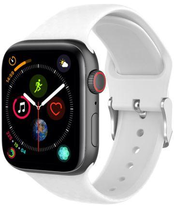 Apple Watch 44MM / 42MM Bandje Siliconen met 3D Diamant Textuur Wit Bandjes