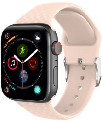 Apple Watch 44MM / 42MM Bandje Siliconen met 3D Diamant Textuur Roze