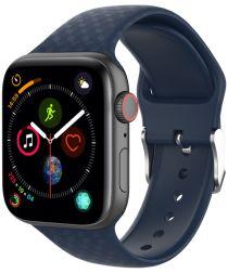 Apple Watch 44MM / 42MM Bandje Siliconen met 3D Diamant Textuur Blauw