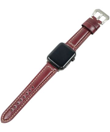 Apple Watch 44MM / 42MM Bandje Duurzaam Echt Split Leer Rood